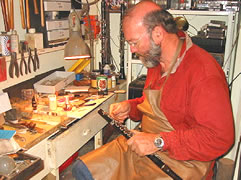 Chris McNeilly mending a flute in his workshop; before and after photos of saxophone